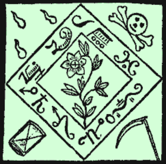 Grimoire - This design for an amulet comes from the Black Pullet grimoire.