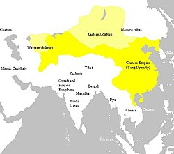 Tang dynasty at its greatest extent, c. 669