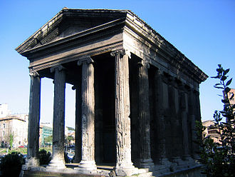 The Temple of Portunus, god of grain storage, keys, livestock and ports. Rome, built between 120 and 80 BC Temple of portunus front.jpg