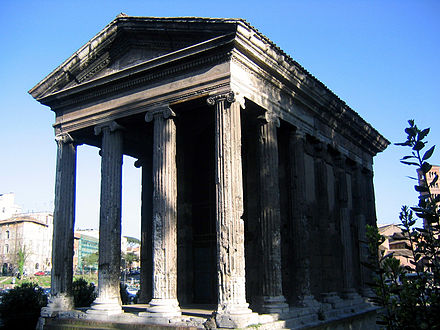 The Temple of Portunus, god of grain storage, keys, livestock and ports. Rome, built between 120-80 BC Temple of portunus front.jpg