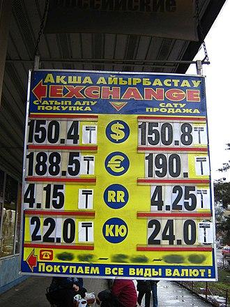 Kazakhstani tenge - New symbol of tenge (₸) used on info-board of a currency exchange office in Almaty