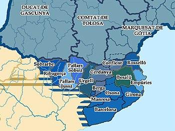 Les comtés de la Marca Hispanica, Carte