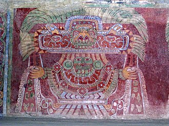 Great Goddess of Teotihuacan - Actual mural from the Tetitla compound showing a similar portrait.