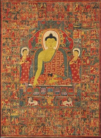 Jataka tales - Thangka of Buddha with the One Hundred Jataka Tales in the background, Tibet, 13th-14th century.