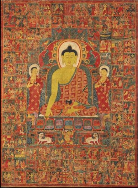 File:Thangka of Buddha with the One Hundred Jataka Tales, Tibet, 13th-14th century.jpg