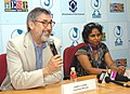 The American Director, Mr. John Landis addressing at a press conference, during the 39th International Film Festival (IFFI-2008), in Panaji, Goa on November 30, 2008.jpg