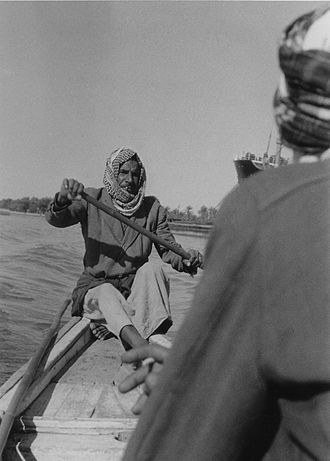 Shatt al-Arab - Arab ferryman on the Shatt al-Arab 1958