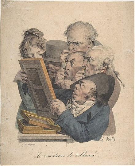Fine art Connoisseurs, c. 1823-1828, lithograph with hand coloring The Art Connoisseurs MET DP808266.jpg