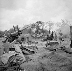 Battle of the Sittang Bend - 5.5-inch guns of the Royal Artillery firing on Japanese troops attempting to break out of the Sittang Bend in early August 1945