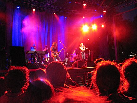 The Cardigans performing in June 2004. The Cardigans.jpg