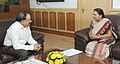 The Chief Minister of Gujarat, Smt. Anandiben Patel calling on the Union Minister for Health and Family Welfare, Dr. Harsh Vardhan, in New Delhi on August 08, 2014.jpg