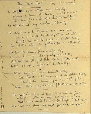 The Dead-Beat - An early draft of the poem Owen included in a letter to Leslie Gunston in August 1917