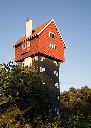 Water tower - The House in the Clouds in Thorpeness functioned as the town's water tower from 1923 until 1977.