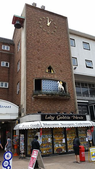 Lady Godiva - The Lady Godiva Clock in Coventry displays her naked ride through the city and Peeping Tom's voyeurism
