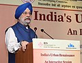 The Minister of State for Housing and Urban Affairs (IC), Shri Hardeep Singh Puri delivering the keynote address at a Seminar on 'Emerging Urban Narrative', in New Delhi on June 02, 2018.JPG