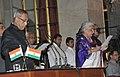 The President, Shri Pranab Mukherjee administering the oath as Cabinet Minister to Smt. Chandresh Kumari Katoch, at a Swearing-in Ceremony, at Rashtrapati Bhavan, in New Delhi on October 28, 2012.jpg