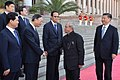 The President, Shri Pranab Mukherjee being introduced to Chinese dignitaries, at the Welcome Ceremony, at Great Hall of the People, in Beijing.jpg