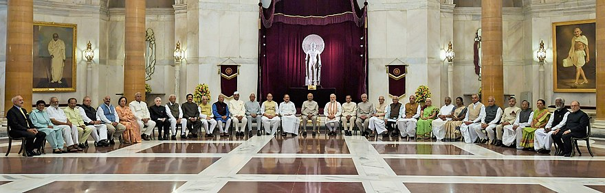 Several governors, lieutenant governors and administrators pose with the President, Vice President and Prime Minister of India during the 49th Governors' Conference, at Rashtrapati Bhavan, New Delhi, in June 2018. The President, Shri Ram Nath Kovind with the Vice President, Shri M. Venkaiah Naidu, the Prime Minister, Shri Narendra Modi and other dignitaries during the 49th Governors' Conference, on June 4, 2018.jpg