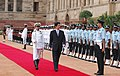 The Prime Minister of Japan, Mr. Shinzo Abe inspecting the Guard of Honor at the ceremonial reception at Rashtrapati Bhavan, in New Delhi on August 22, 2007.jpg
