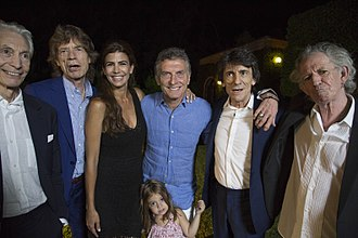 Mauricio Macri - Macri and his wife Juliana and their daughter with The Rolling Stones, February 2016