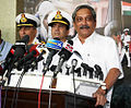 The Union Minister for Defence, Manohar Parrikar interacting with the media on the opening day of the Naval Commanders' conference 2016.JPG