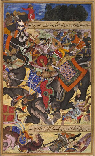 Jaunpur, Uttar Pradesh - It depicts the elephant Citranand attacking another, called Udiya, during the Mughal campaign against the rebel forces of Khan Zaman and Bahadur Khan in 1567.