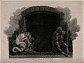 The entrance to hell with two mythological figures. Stipple Wellcome V0042180.jpg