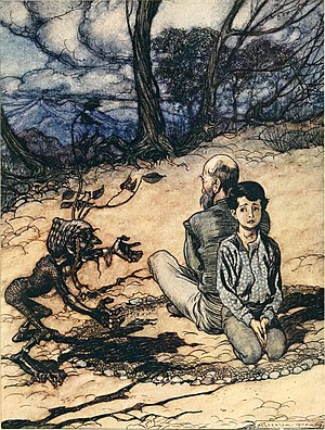The King of the Golden Mountain - Son and father arguing with the black man, Arthur Rackham, 1916