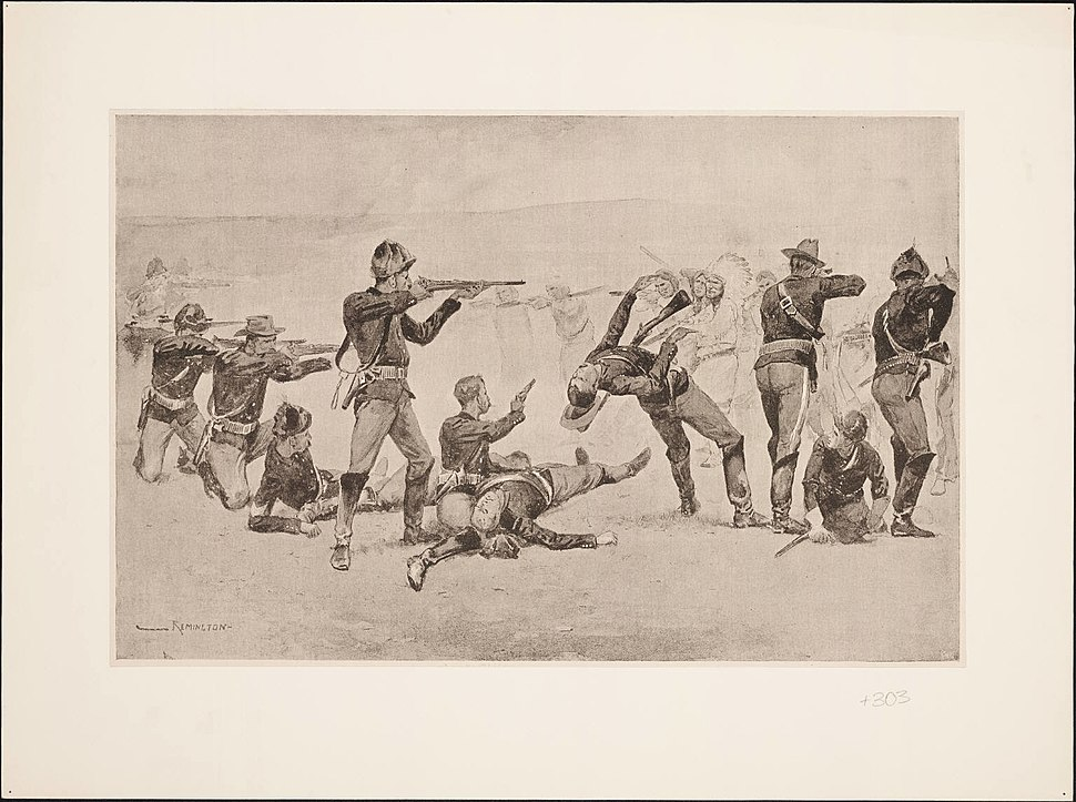 The opening of the fight at Wounded Knee by Frederic Remington 1891