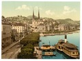 The quay, Hotels Schweizerhof and National and Cathedral from the Swan Hotel, Lucerne, Switzerland-LCCN2001703045.tif