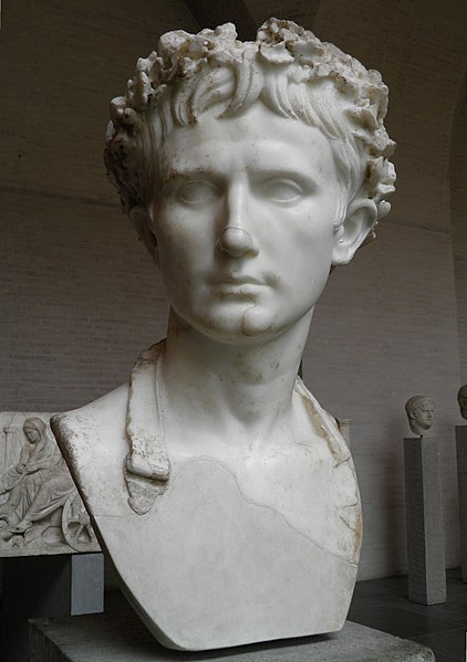 "File:The so called ""Augustus Bevilacqua"", bust of the emperor Augustus wearing the Corona Civica, Glyptothek, Munich (9897920023).jpg"