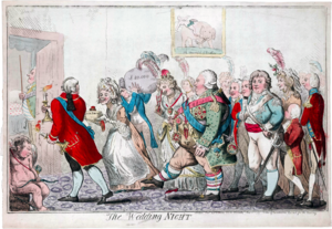 Bedding ceremony - A satirical cartoon by Isaac Cruikshank of Princess Charlotte and Prince Frederick being led to bed by a party including her parents, King George III and Queen Charlotte