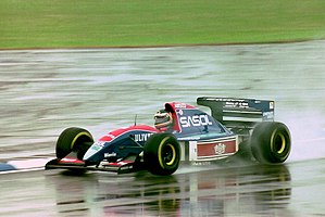 Thierry Boutsen - Jordan 193 during practice for the 1993 British Grand Prix (32843912224).jpg