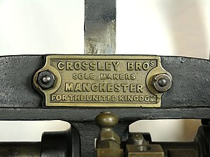 Crossley - Maker's plate, on an atmospheric gas engine at Thinktank, Birmingham Science Museum
