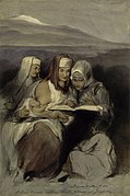 Three Hebrew women, seated, reading the Scriptures; one of Wellcome V0050636.jpg