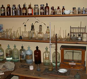 Metallurgical assay - A 19th-century assay laboratory in Tombstone Courthouse State Historic Park, Arizona.