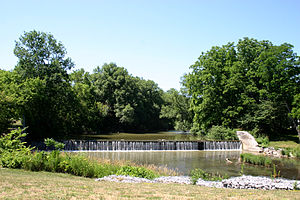 Batavia, New York - Old mill dam at the Big Bend of the Tonawanda, downtown Batavia, New York. The choice of this site for Ellicot's headquarters was probably influenced by a good mill site.
