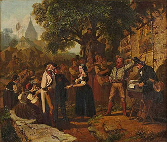 Cultural globalization - Painting of a turn-of-century trading fair, Hessisches Volksfest (Hessian Folk Festival), 1887, Louis Toussaint (1826-1887), Öl auf Leinwand.