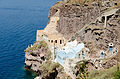 Traditional cave houses at Mesa Gialos - old harbour of Fira - Santorini - Greece - 01.jpg