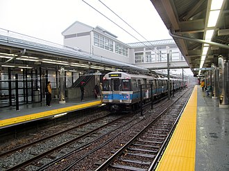 Blue Line (MBTA) - An inbound Blue Line train at Orient Heights in 2013