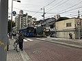 Tramcars of Hankai Tramway at Sumiyoshi-Toriimae Station.jpg