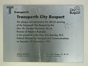 Elizabeth Quay Bus Station - Image: Transperth City Busport plaque