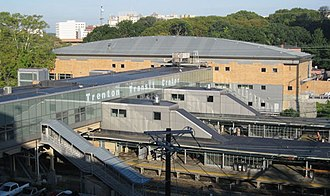 Trenton Transit Center - Overview of the Trenton Transit Center station facing west