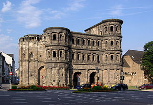 City gate - The Porta Nigra Roman city gate in Trier, Germany. Today a World Heritage Site.