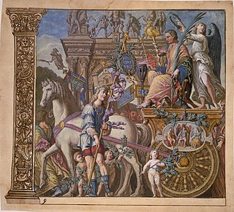 Royal Entry - Later woodcut after Mantegna, with hand-colouring, showing the culmination of the Triumphs of Caesar.