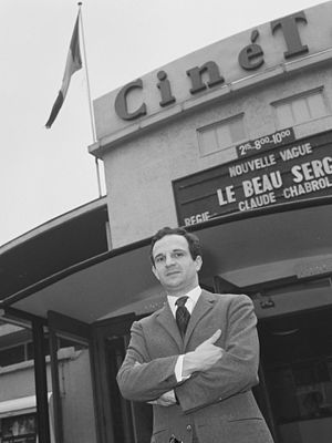 Jacques Rivette - François Truffaut outside a theater showing Claude Chabrol's Le Beau Serge, considered the first film of the French New Wave. Truffaut was one of Rivette's best friends, and he and Chabrol helped finance Paris Belongs to Us.