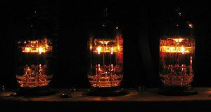 Tube sound - Vacuum tubes glowing inside the preamp section of a modern guitar amplifier