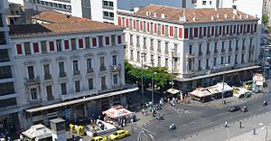 """Ernst Ziller - Hotels """"Megas Alexandros"""" and """"Bakeion"""", Omonoia Square."""