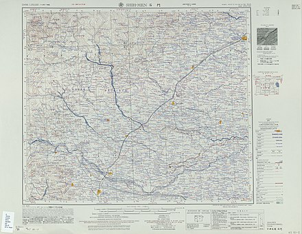 Map including Shijiazhuang (labeled as SHIH-MEN (SHIHKIACHWANG) Shi Men  ) (AMS, 1954) Txu-oclc-10552568-nj50-5.jpg