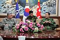 U.S. Army Lt. Gen. John Johnson, left, the commanding general of the Eighth U.S. Army, visits with South Korean army Gen. Lee Chul-hyee, right, the commanding general of the 2nd Operational Command (2OC), at 110309-A-AP548-020.jpg